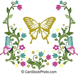graphic element butterfly with flourishes 3