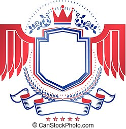 Graphic emblem composed with royal crown element, red wings and laurel wreath. Heraldic Coat of Arms decorative logo isolated vector illustration.