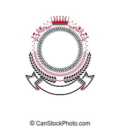 Graphic emblem made with imperial Crown, elegant ribbon and laurel wreath. Heraldic Coat of Arms, vintage vector logo.