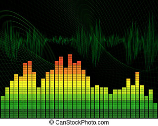 Graphic equalizer on green abstract background. The schedule...