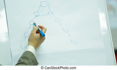 Lecturer drawing a graphic example for students