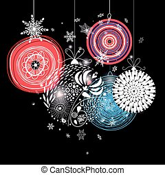 Graphic festive greeting card with Christmas balls