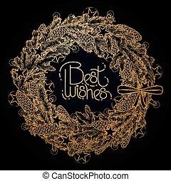 Graphic fir wreath with garlands