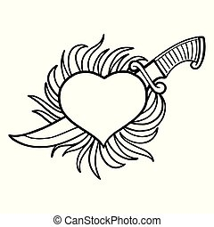 Graphic flaming heart with knife