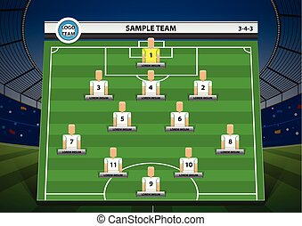 Graphic football team starting lineup squad on stadium background. soccer vector illustration.