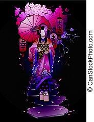 Graphic geisha with umbrella