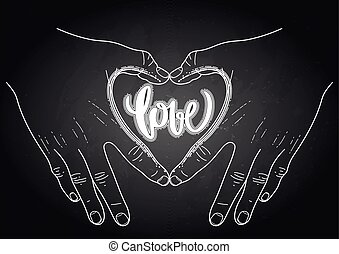 Graphic hands show heart