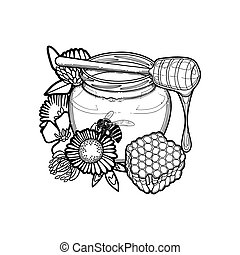 Graphic honey bottle and the dripper decorated with flowers