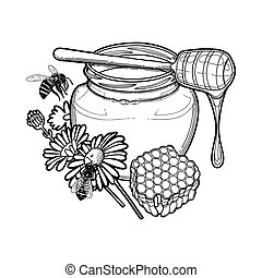 Graphic honey bottle decorated with chamomile flowers