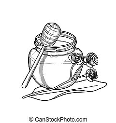 Graphic honey bottle decorated with linden flowers
