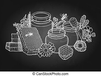 Graphic honey bottles surrounded by honeycombs, meadow flowers and bees
