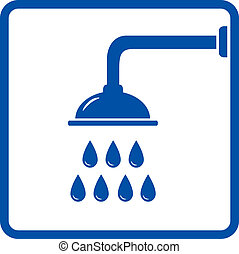 graphic icon with shower head and water