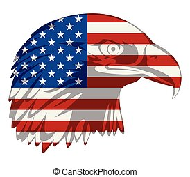 American flag in eagle head - Graphic illustration of...