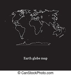 Graphic illustration of Earth globe map on black backgound. Hand drawn continents contour in vector.