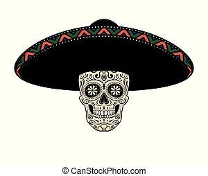 Graphic illustration of skull in sombrero hat. Skull mexican.