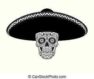Graphic illustration of stencil skull in sombrero hat. Skull mexican.