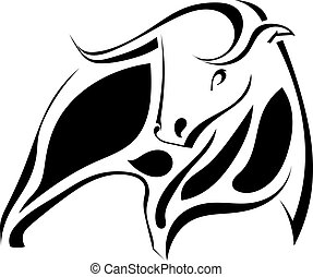 Graphic image of a strong black bull. Vector illustration