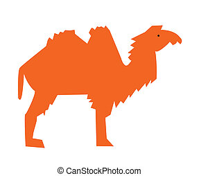 Graphic image of an orange camel on a white background