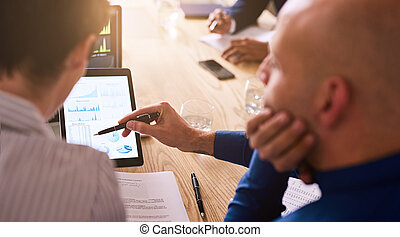 Graphic information being displayed on a tablet during business meeting