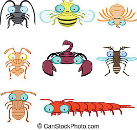 Graphic insects and arthropod include cockroach fly spider...