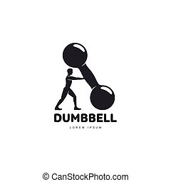 Graphic Logo Template With Bodybuilder Man Supporting A Big Dumbbell
