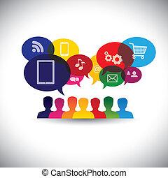 graphic., média, bavarder, toile, gestion réseau, consommateurs, icônes, média, -, communication, aussi, achats en ligne, achats, utilisateurs, internet, graphique, représente, interaction, ceci, &, vecteur, social, ou
