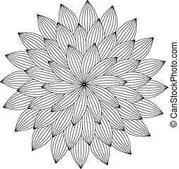 Graphic Mandala with abstract petals . Zentangle inspired...