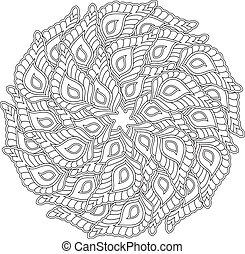 Graphic Mandala with many decorative petals. Zentangle...