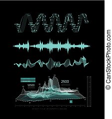 Graphic musical equalizer, sound waves, on a black background