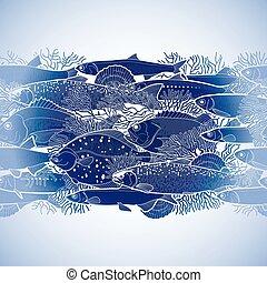 Graphic ocean fish border - Graphic ocean fish drawn in line...