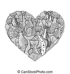 Graphic ocean fish in the shape of heart. Saltwater fish for seafood menu. Sea and ocean creatures isolated on white background. Coloring book page design for adults and kids