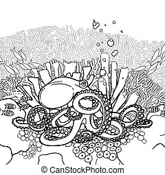 Graphic octopus and coral reef drawn in line art style....