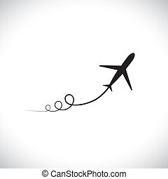 Graphic of airplane icon take off showing its path & speeding up. This illustration can also represent silhouette symbol of a military jet zoom in the sky with high speed