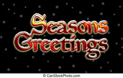 Graphic of Chrome Seasons Greetings Lettering with snow on Black Background