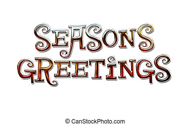 Graphic of Colorful Chrome Seasons Greetings Lettering with Snow