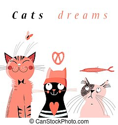 Graphic of cute dream cats