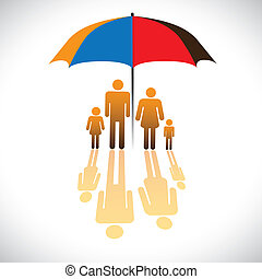 Graphic of Secure family people icons & umbrella safeguard. The