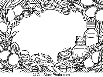 Graphic oil bottles surrounded by shea plants and butter. ...