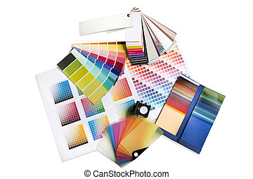 Big group selection of coloured swatches and pantone chips