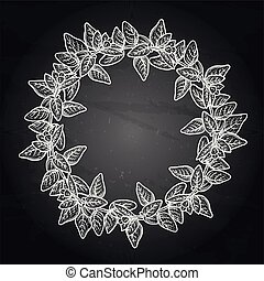 Graphic oregano wreath