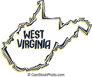 west virginia - graphic outline of the state of west ...