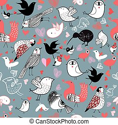 Graphic pattern of different birds