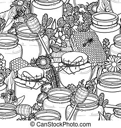 Graphic pattern of honey and floral decorations