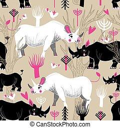 Graphic pattern of rhinoceroses lovers