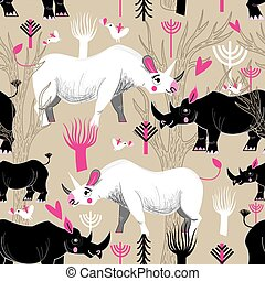 Graphic pattern of rhinoceroses lovers
