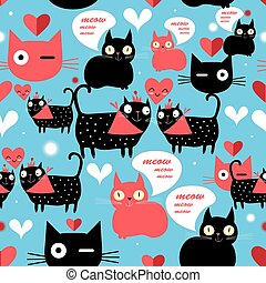Graphic pattern with lovers cats