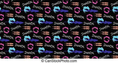 Graphic pattern with shark.