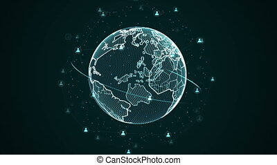 Graphic picture of planet with Web