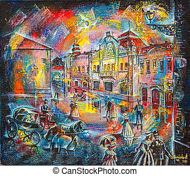 graphic picture of the oil city at night with people and coach