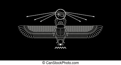 Graphic print of egypt sacred scarab pattern on black.